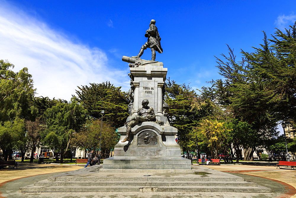 Magellan Monument, Plaza de Armas (Plaza Munoz Gamero), sunny day, Punta Arenas, Chile, South America - 1167-1841