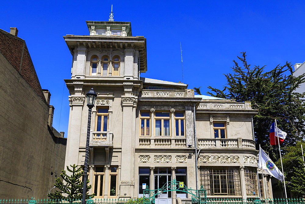 City Hall, former Jose Montes Palace, opulent mansion, sunny day, blue sky, Plaza Munoz Gamero, Punta Arenas, Magallanes, Chile, South America