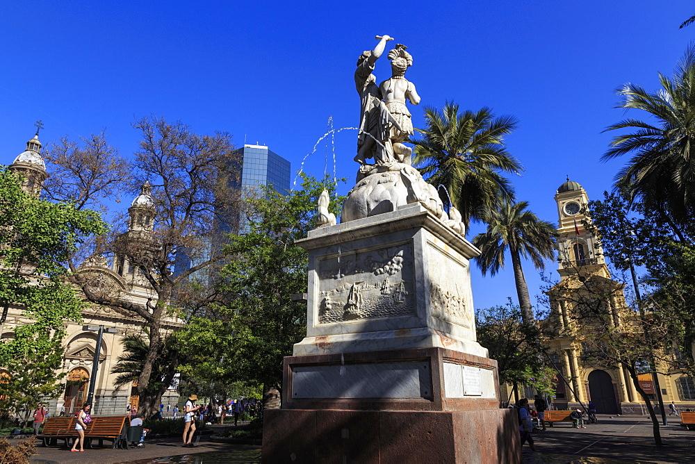 Simon Bolivar liberator fountain, lush trees, blue sky, Plaza de Armas, Santiago Centro, Santiago de Chile, Chile, South America