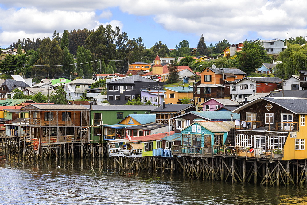 Palafitos, colourful stilt houses on water's edge, unique to Chiloe, Castro, Isla Grande de Chiloe, Chile, South America - 1167-1863