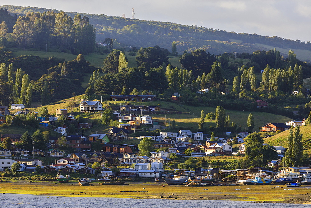 Village on shores of Castro inlet, lush rolling green hills and trees, Isla Grande de Chiloe, Chilean Lake District, Chile, South America - 1167-1876