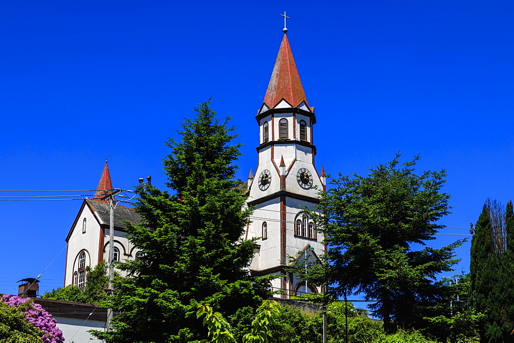 Iglesia del Sagrado Corazon, imposing and colourful church, German colonial architecture, Puerto Varas, Lakes District, Chile, South America