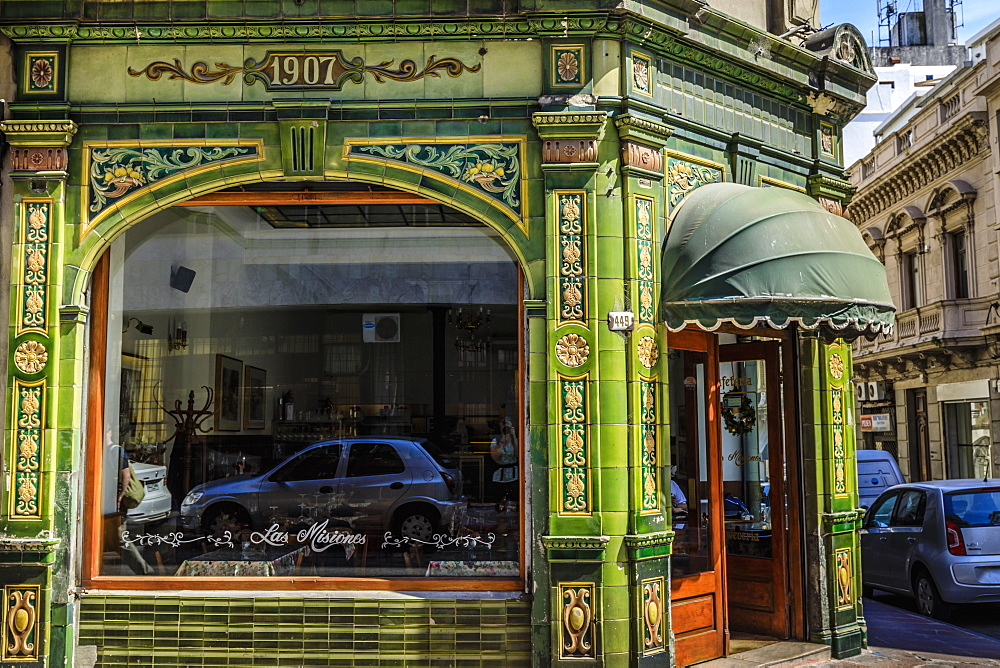 Old green tiled restaurant, historic colonial Ciudad Vieja, Old Town, Montevideo, Uruguay, South America - 1167-1891