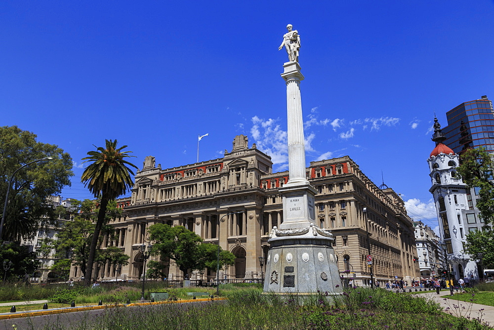 Statue and Palacio de Justicia, Supreme Court home, leafy Plaza Lavalle, Congreso and Tribunales, Buenos Aires, Argentina, South America