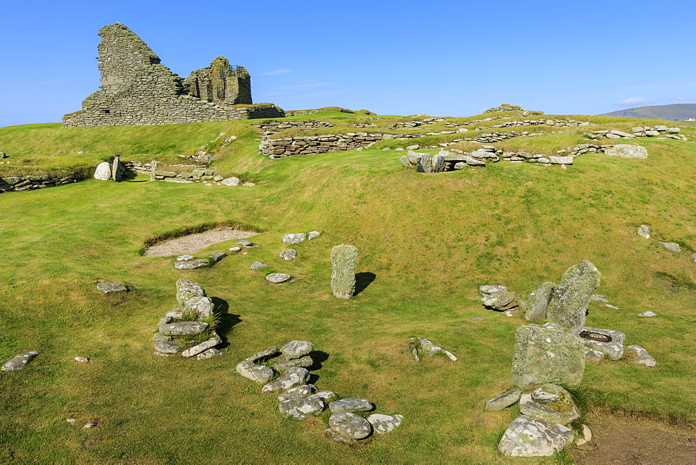 Jarlshof Prehistoric and Norse Settlement, 4000 years old, Sumburgh Head, Mainland, Shetland Islands, Scotland, United Kingdom - 1167-1922