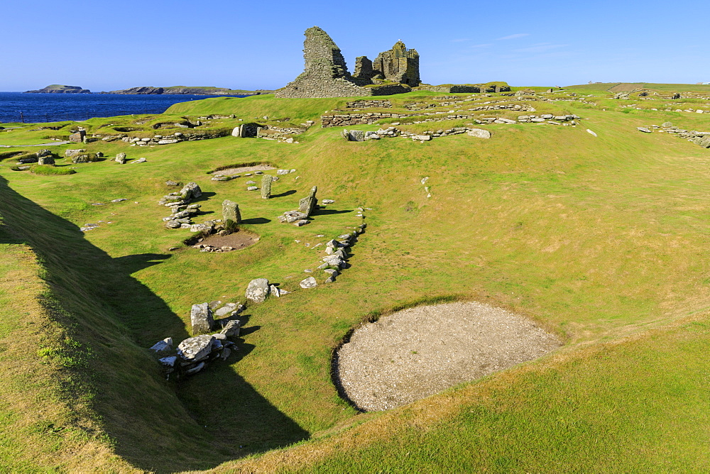 Jarlshof Prehistoric and Norse Settlement, 4000 years old, Sumburgh Head, Mainland, Shetland Islands, Scotland, United Kingdom, Europe