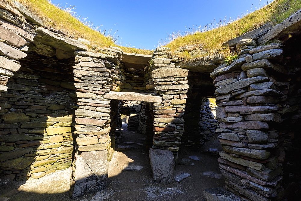 Jarlshof Prehistoric and Norse Settlement, 4000 years old, Sumburgh Head, Mainland, Shetland Islands, Scotland, United Kingdom, Europe - 1167-1927