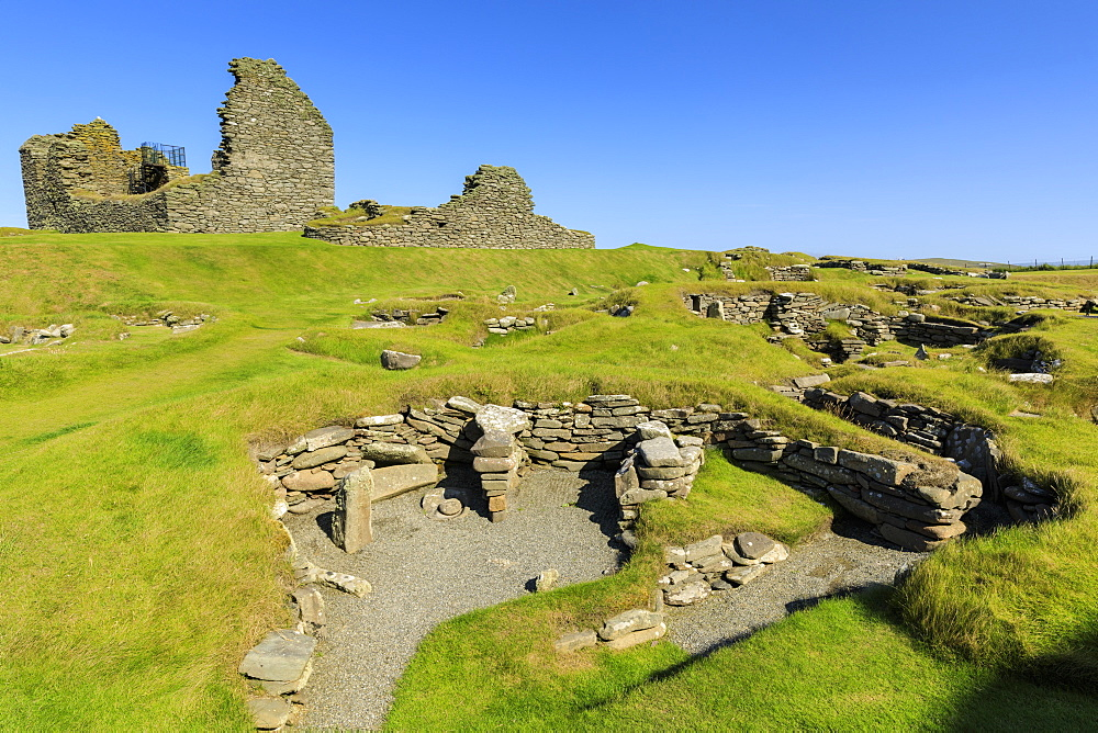 Jarlshof Prehistoric and Norse Settlement, 4000 years old, Sumburgh Head, Mainland, Shetland Islands, Scotland, United Kingdom - 1167-1929