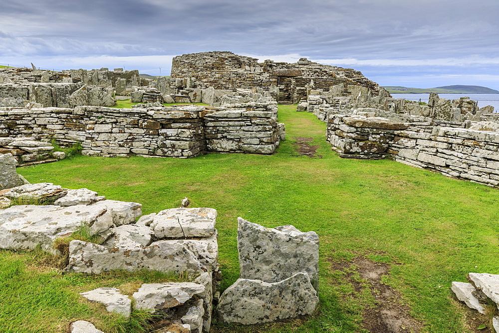 Broch of Gurness, Iron Age complex, prehistoric settlement, Eynhallow Sound, Orkney Islands, Scotland