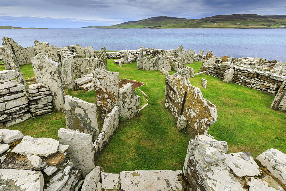 Broch of Gurness, view to Island of Rousay, Iron Age complex, prehistoric settlement, Eynhallow Sound, Orkney Islands, Scotland