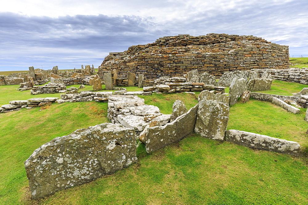 Broch of Gurness, Iron Age complex, prehistoric settlement, Eynhallow Sound, Orkney Islands, Scotland, United Kingdom