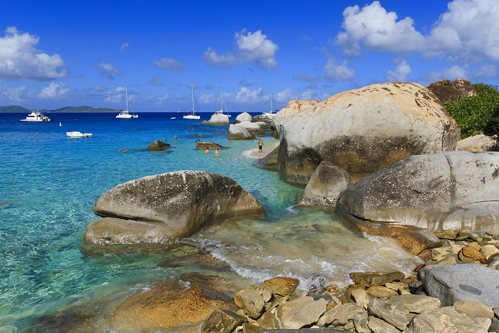 Yachts, swimmers and granite rocks, The Baths, Virgin Gorda, British Virgin Islands (BVI), West Indies, Caribbean, Central America