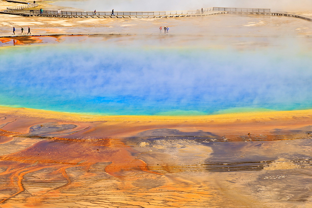 Visitors, steam and vivid colours, Grand Prismatic Spring, Yellowstone National Park, UNESCO World Heritage Site, Wyoming, United States of America, North America