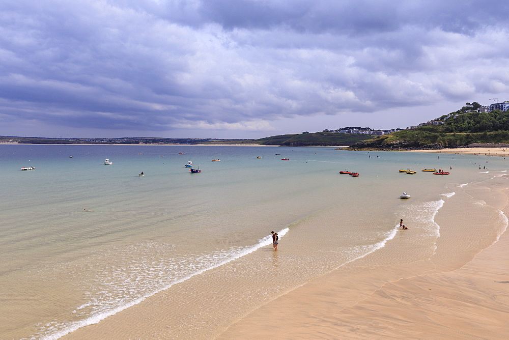 St Ives beaches, popular seaside resort in hot weather, Summer, Cornwall, England, United Kingdom