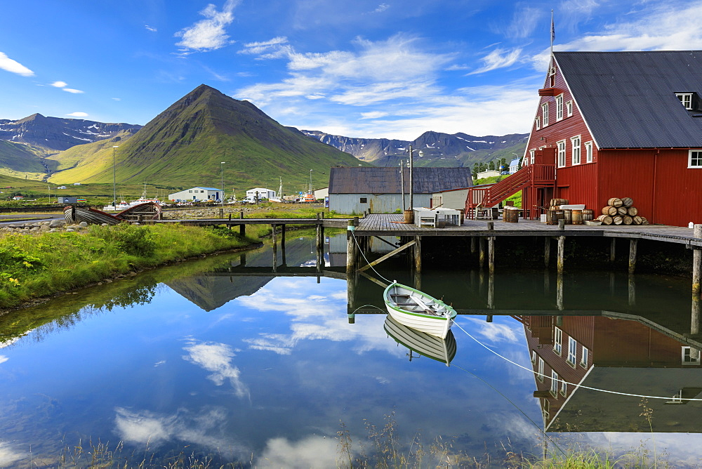 Award-winning Herring Era Museum, fjord scenery, reflections, Siglufjordur, (Siglufjorour), stunning Summer day, North Iceland