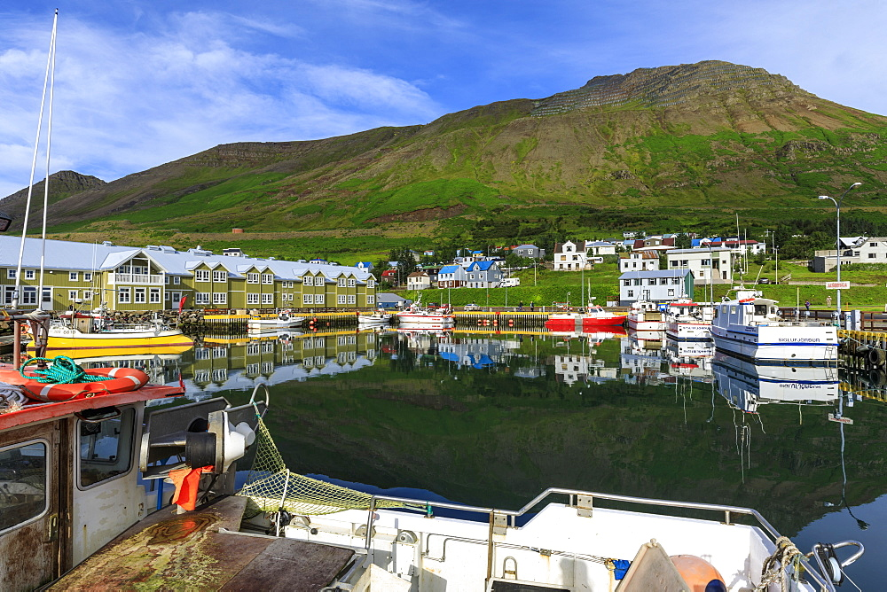Harbour, hotel and fishing boats, mountains, reflections, Siglufjordur, (Siglufjorour), stunning Summer weather, North Iceland, Europe