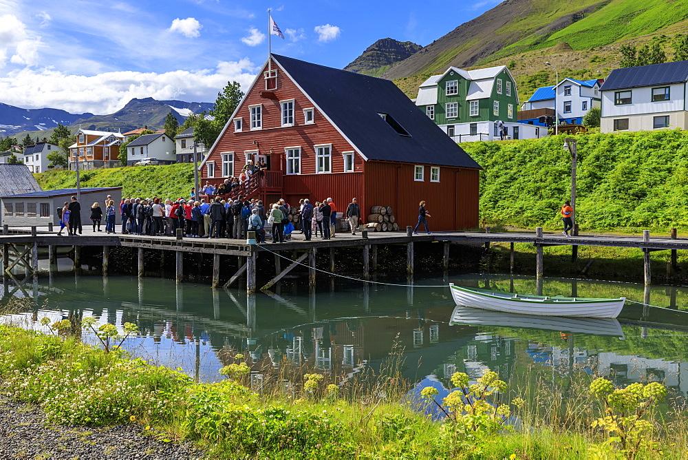 Tourists at the busy, award-winning Herring Era Museum, Siglufjordur, (Siglufjorour), stunning Summer day, North Iceland, Europe - 1167-2040