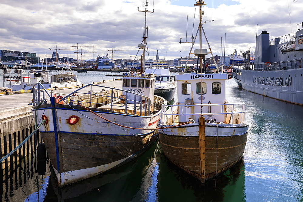 Fishing boats in Reykjavik Old Harbour in summer, distant Hallgrimskirkja, Central Reykjavik, Iceland, Polar Regions