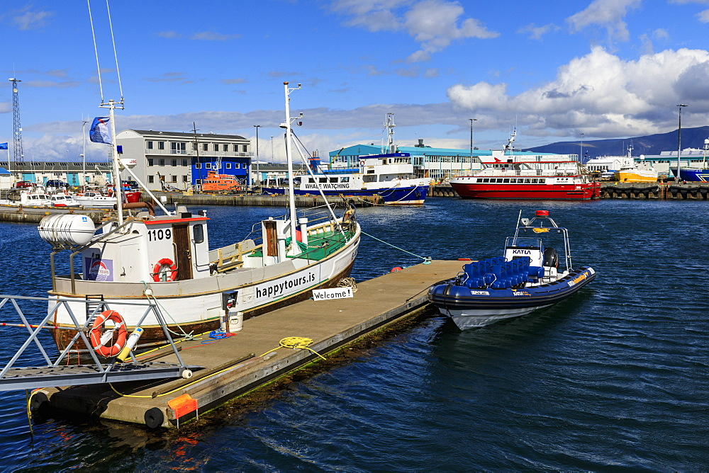 Colourful tour boats in Reykjavik Old Harbour, welcome sign, blue sea and summer sky, Reykjavik, Iceland, Polar Regions