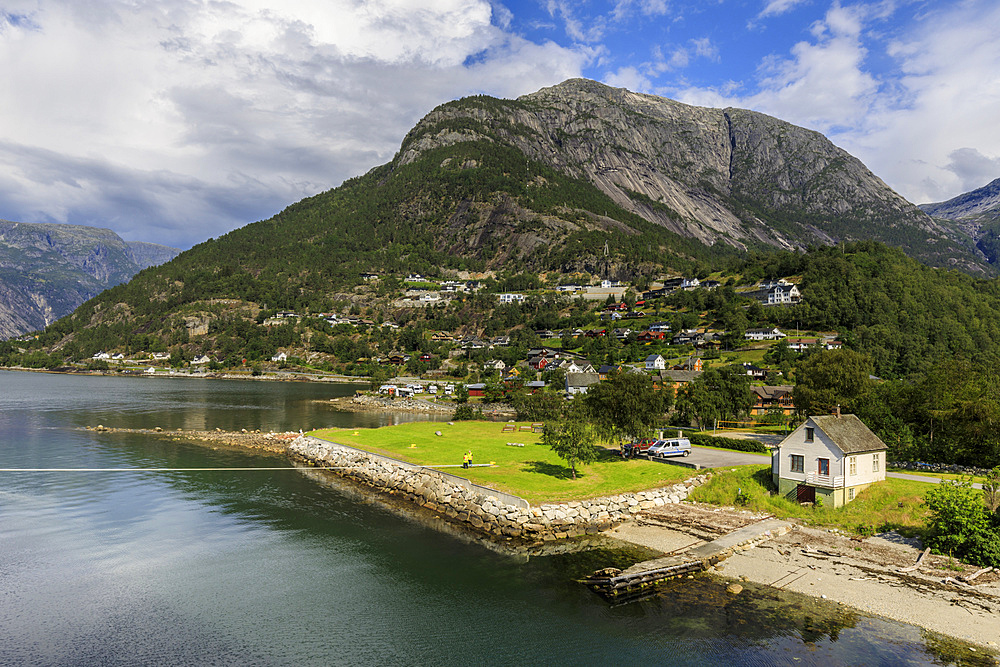 Beautiful Eidfjord village, elevated view, sunny day, off Hardangerfjord, Norwegian Western Fjords, Norway, Scandinavia, Europe