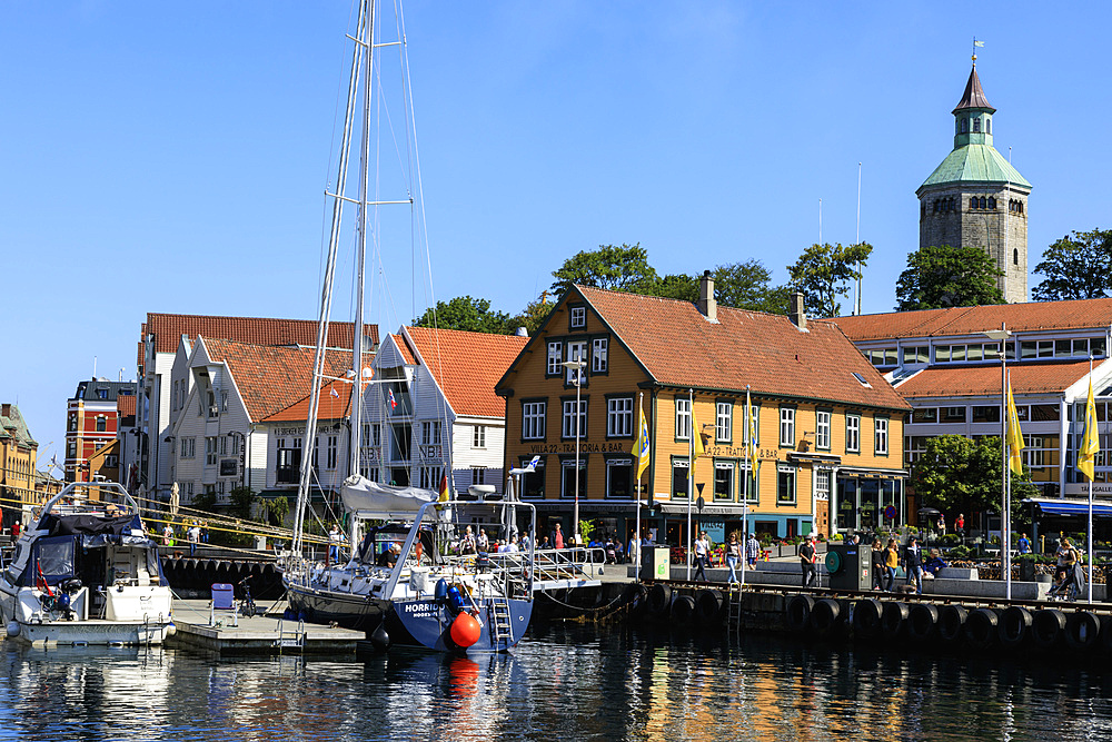 Vagen inner harbour, yacht, waterfront, blue sky in summer, Stavanger, Rogaland, Norway, Scandinavia, Europe