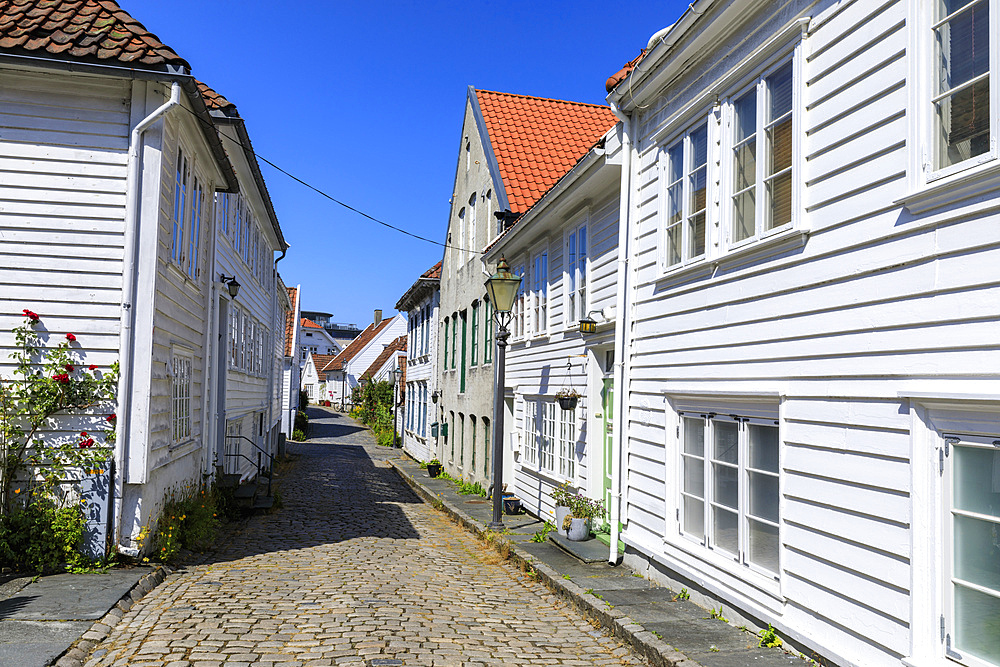 Beautiful old town, cobbled street, flowers and white wooden houses, blue sky in summer, Gamle Stavanger, Rogaland, Norway, Scandinavia, Europe