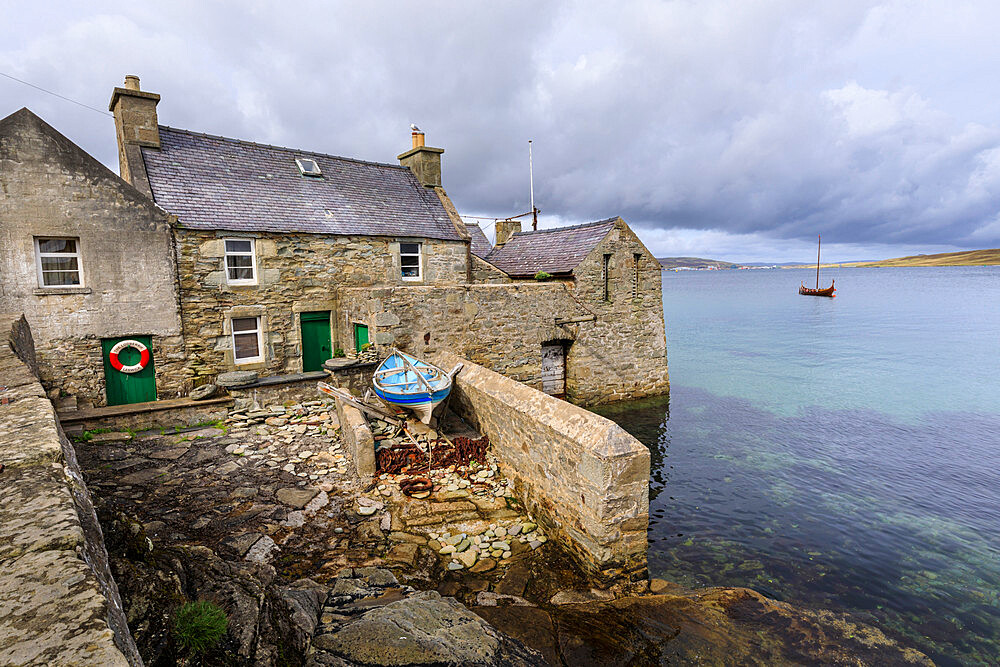 Weather front over the Lodberrie, historic building, home of TV detective Jimmy Perez, Lerwick, Shetland Isles, Scotland, Europe