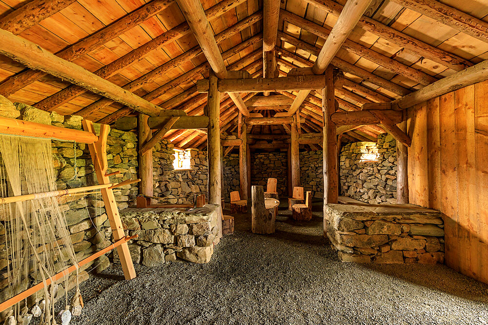 Replica Viking longhouse, interior, Haroldswick, Island of Unst, Shetland Isles, Scotland, United Kingdom, Europe