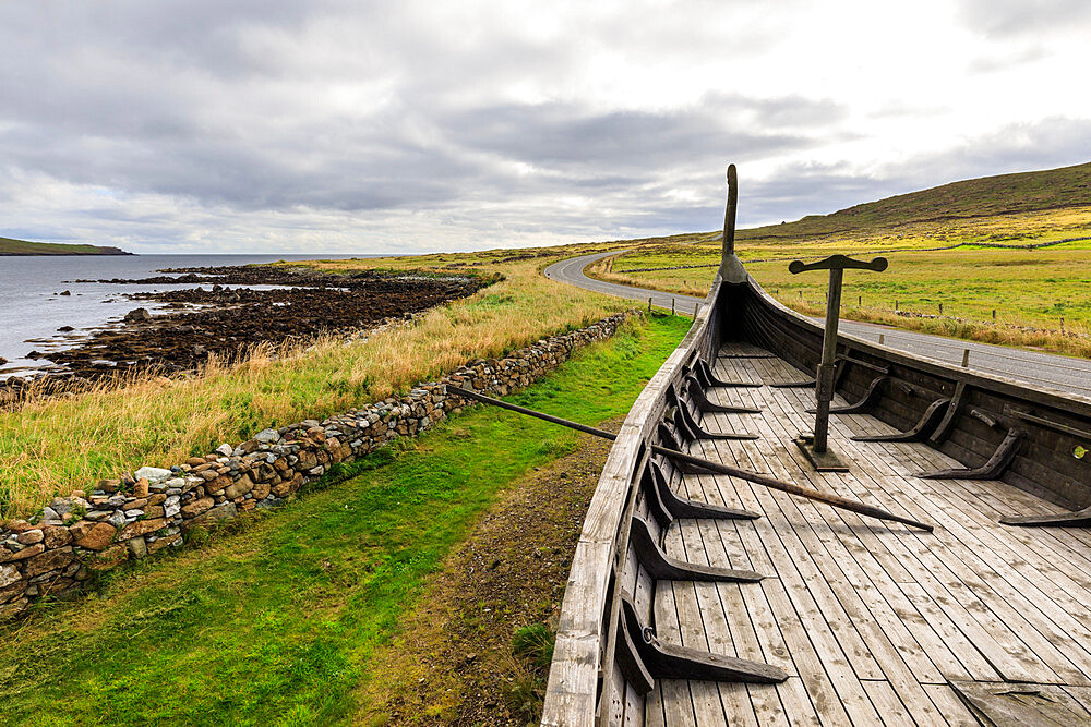 Replica Viking longship, Skidbladner, Haroldswick, Island of Unst, Shetland Isles, Scotland, United Kingdom, Europe