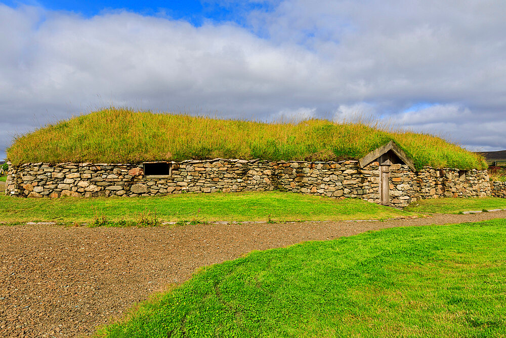 Replica Viking longhouse, turf roof, Haroldswick, Island of Unst, Shetland Isles, Scotland, United Kingdom, Europe