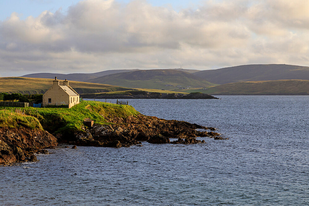 Crofthouse and coastal views, Reawick, West Mainland, Shetland Isles, Scotland, United Kingdom