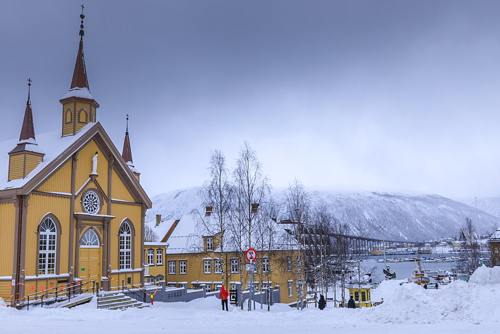 Tromso, after heavy snow, Catholic Cathedral, Tromso Bridge in winter, Troms, Arctic Circle, North Norway, Scandinavia, Europe