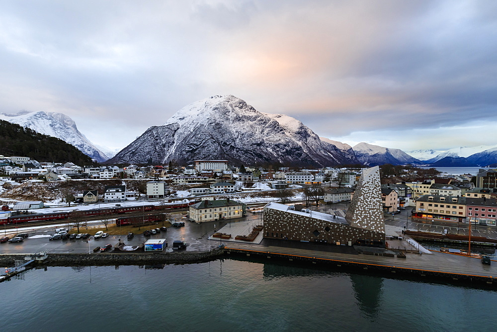 Andalsnes, town, Rauma Railway, mountain snow at dawnin winter, elevated view from Romsdalsfjord, More og Romsdal, Norway, Scandinavia, Europe