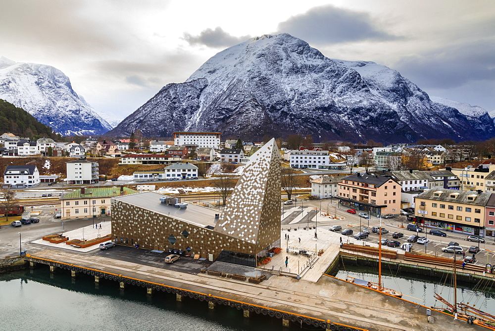 Andalsnes town and snow capped mountain, elevated view from Romsdalsfjord in winter, More og Romsdal, Norway, Scandinavia, Europe
