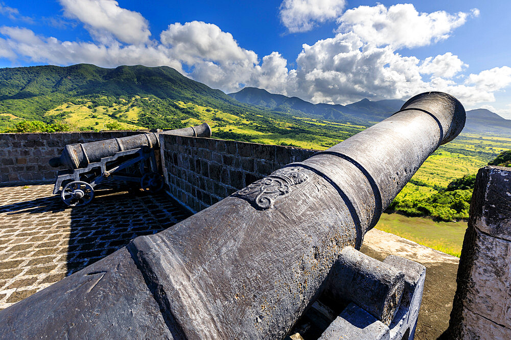 Cannons, royal insignia, Brimstone Hill Fortress National Park, UNESCO World Heritage Site, St. Kitts and Nevis, Caribbean