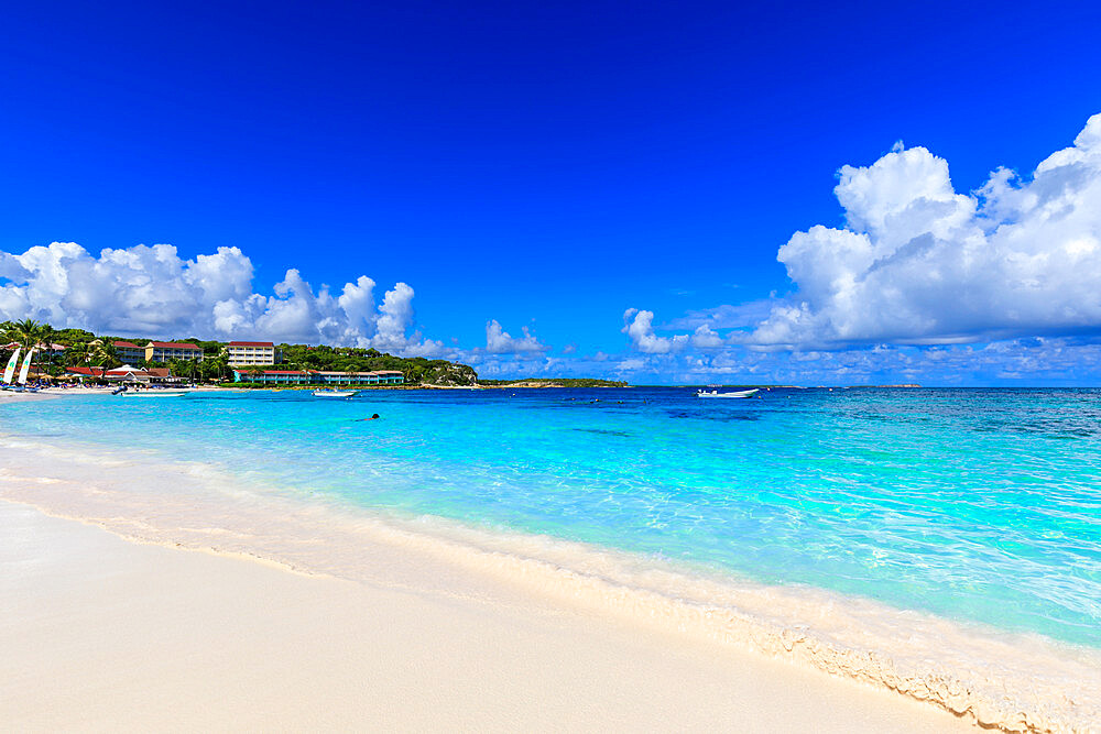 Long Bay Beach, beautiful soft white sand, turquoise sea, Antigua, Antigua and Barbuda, Leeward Islands, West Indies, Caribbean, Central America