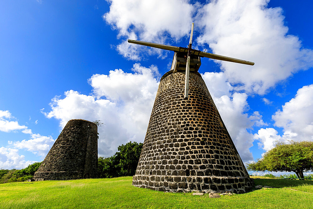 Bettys Hope, historic early sugar plantation, 1651, restored windmill towers, Antigua, Leeward Islands, West Indies, Caribbean