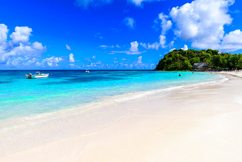 Beautiful Long Bay Beach, boat, turquoise sea, white sand, Antigua, Antigua and Barbuda, Leeward Islands, West Indies, Caribbean, Central America