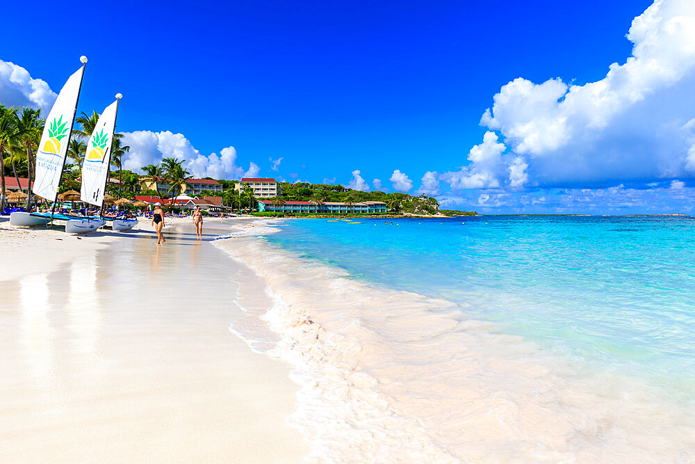 Long Bay Beach, beautiful white sand, turquoise sea, watersports, tourists, Antigua, Antigua and Barbuda, Leeward Islands, West Indies, Caribbean, Central America
