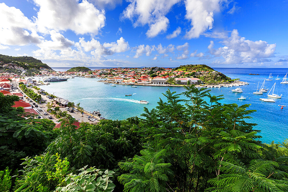 Elevated view over pretty Gustavia harbour and town and out to sea, Gustavia, St. Barthelemy ((St. Barts) (St. Barth), West Indies, Caribbean, Central America