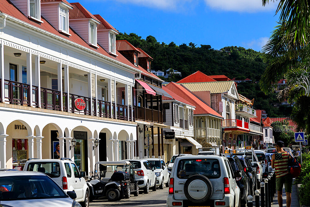 Street view, designer shops, attractive architecture, Gustavia, St. Barthelemy (St. Barts) (St. Barth), West Indies, Caribbean, Central America