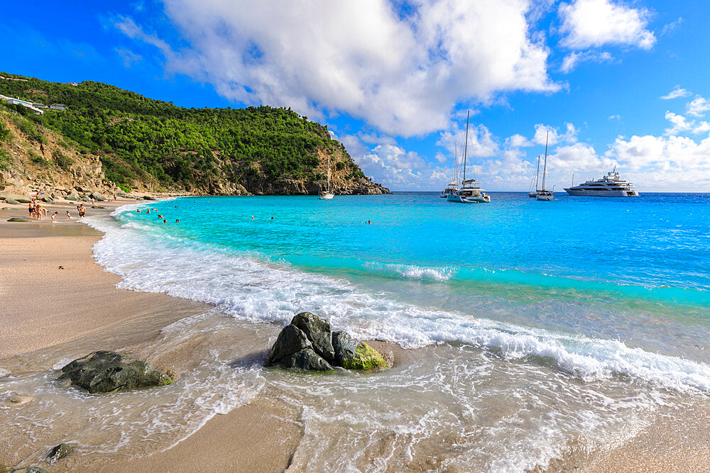 Shell Beach, yachts anchored in turquoise bay, people in sea, Gustavia, St. Barthelemy (St. Barts) (St. Barth), West Indies, Caribbean, Central America