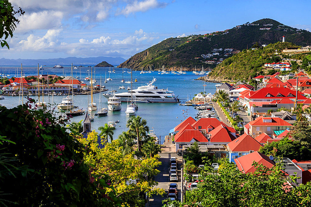 Elevated view over pretty red rooftops of town and sea, Gustavia, St. Barthelemy (St. Barts) (St. Barth), West Indies, Caribbean, Central America - 1167-2333