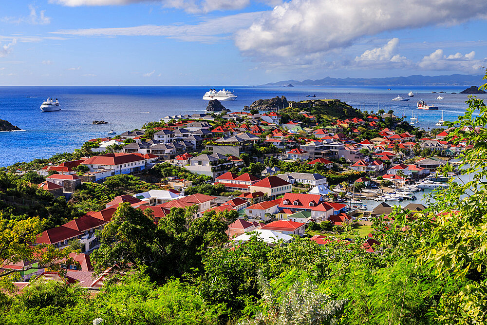 Gustavia, elevated view over pretty red rooftops of town and sea, Gustavia, St. Barthelemy (St. Barts) (St. Barth), West Indies, Caribbean, Central America