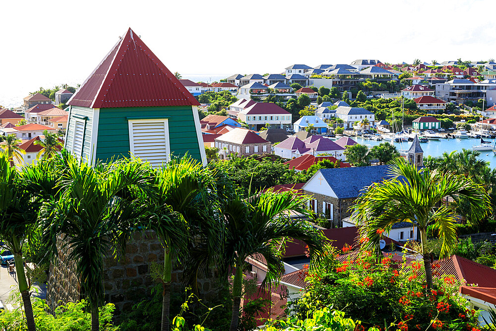 Swedish Bell Tower and rooftops of Gustavia, St. Barthelemy (St. Barts) (St. Barth), West Indies, Caribbean, Central America