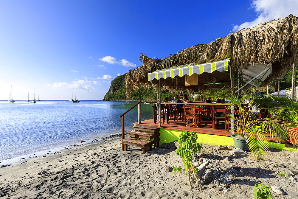 Deshaies, Catherine's Bar, Death In Paradise location, late afternoon, Basse Terre, Guadeloupe, Lesser Antilles, Caribbean