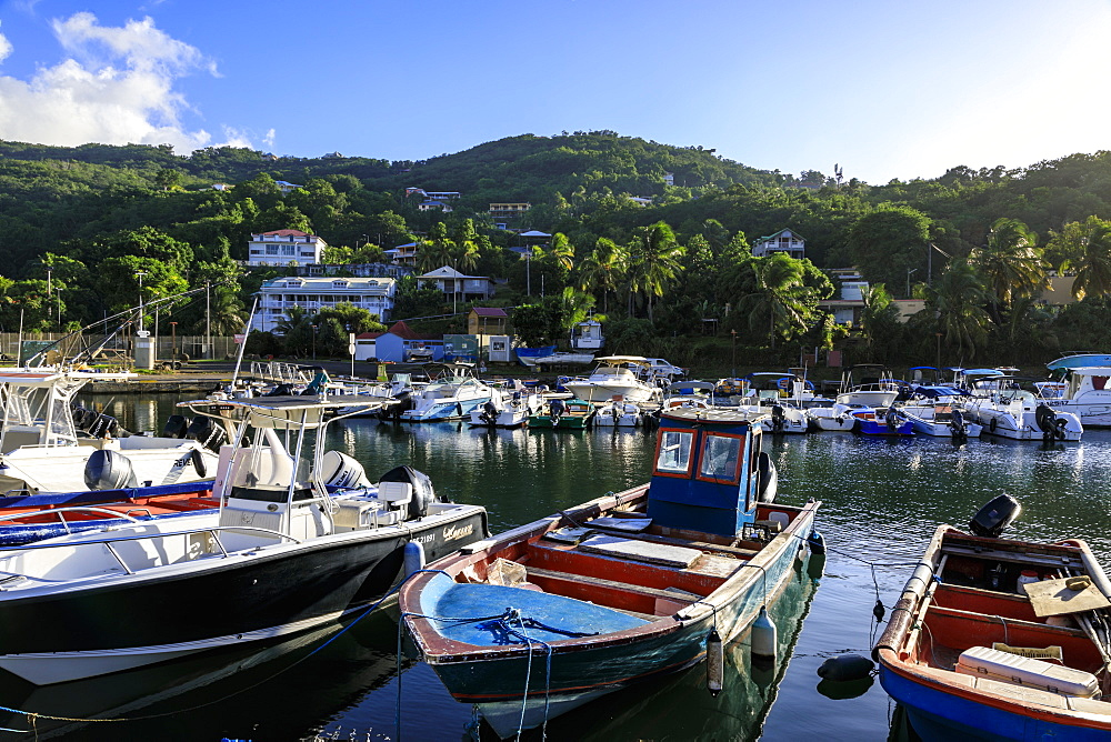 Deshaiesharbour, boats, Death In Paradise location, Saint Marie, Basse Terre, Guadeloupe, Leeward Islands, West Indies, Caribbean, Central America