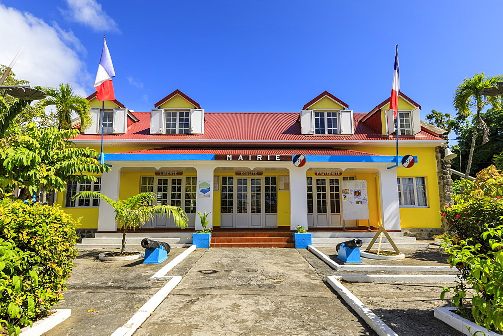Town Hall, colourful Bourg des Saintes town, Terre de Haut, Iles Des Saintes, Les Saintes, Guadeloupe, Leeward Islands, West Indies, Caribbean, Central America