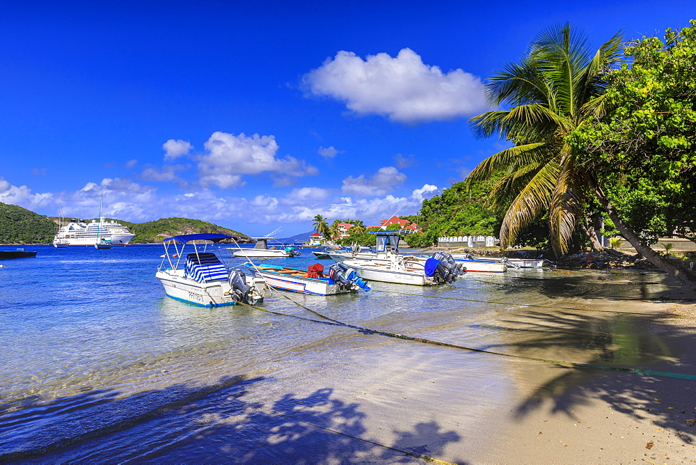 Les Saintes Bay at Anse Mire Cove beach, boats, turquoise sea, palm tree, Terre de Haut, Iles Des Saintes, Guadeloupe, Leeward Islands, West Indies, Caribbean, Central America