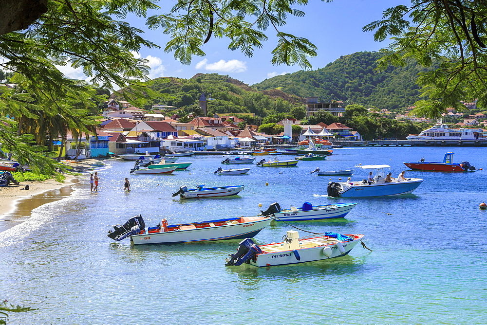 Anse du Bourg, town beach and boats, Terre de Haut, Iles Des Saintes, Les Saintes, Guadeloupe, Leeward Islands, West Indies, Caribbean, Central America